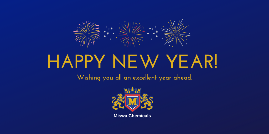 Blue background with fireworks. Text readsL Happy New Year! Wishing you all an excellent year ahead. Miswa Chemicals logo.