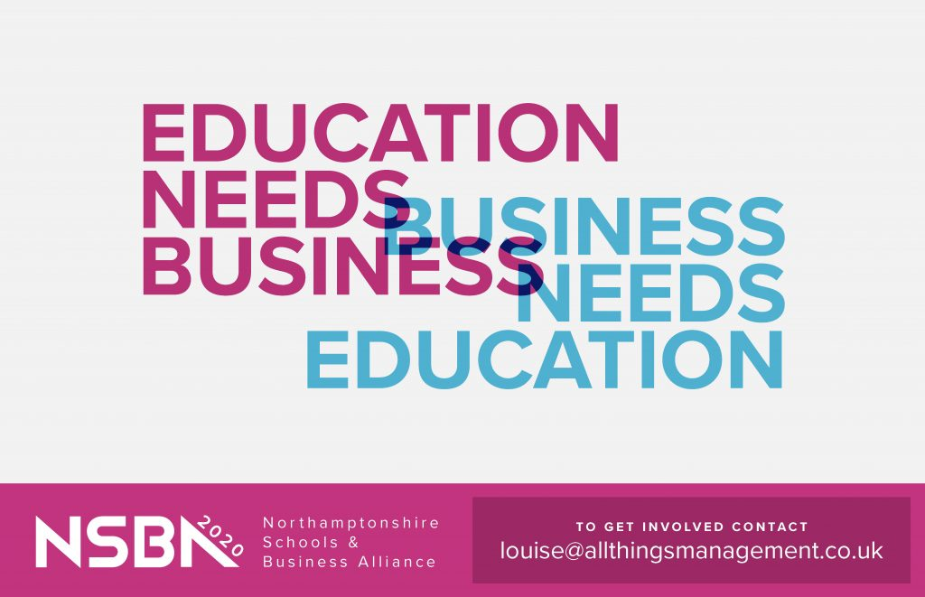 White background with pink and blue text that reads: Education Needs Business. Business needs education